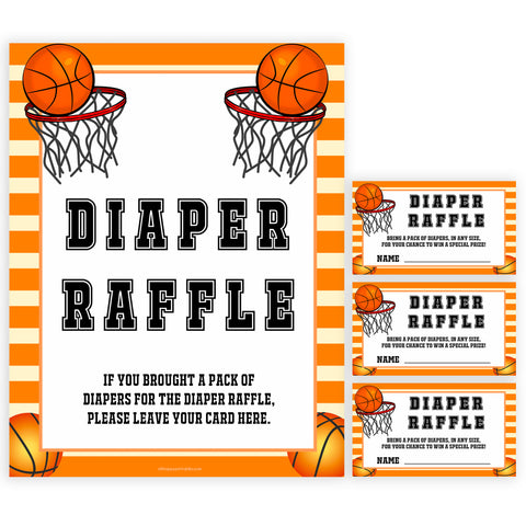 Basketball baby shower games, diaper raffle baby game, printable baby games, basket baby games, baby shower games, basketball baby shower idea, fun baby games, popular baby games
