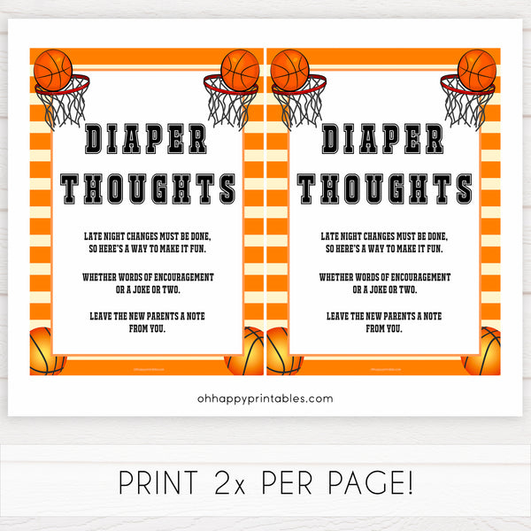 Basketball baby shower games, diaper thoughts baby game, printable baby games, basket baby games, baby shower games, basketball baby shower idea, fun baby games, popular baby games