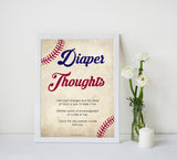 baseball diaper thoughts baby shower games, diaper thoughts, baby shower games, printable baby shower games, fun baby shower games, popular baby shower games