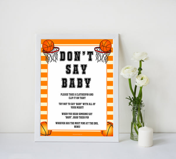 Basketball baby shower games, dont say baby baby game, printable baby games, basket baby games, baby shower games, basketball baby shower idea, fun baby games, popular baby games