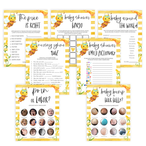 7 baby shower games bundle, Printable baby shower games, mommy bee fun baby games, baby shower games, fun baby shower ideas, top baby shower ideas, mommy to bee baby shower, friends baby shower ideas