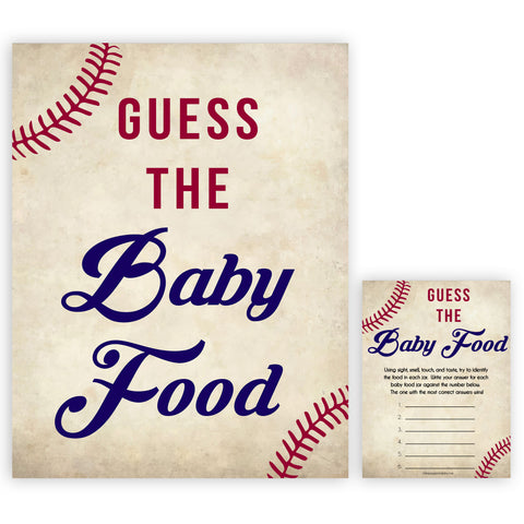 baseball guess the baby food game, baby shower games, guess the baby food game, printable baby shower games, fun baby shower games, popular baby shower games