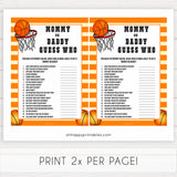 Basketball baby shower games, mommy or daddy guess who baby game, printable baby games, basket baby games, baby shower games, basketball baby shower idea, fun baby games, popular baby games