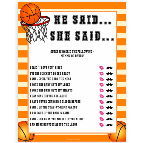 Basketball baby shower games, he said she said baby game, printable baby games, basket baby games, baby shower games, basketball baby shower idea, fun baby games, popular baby games