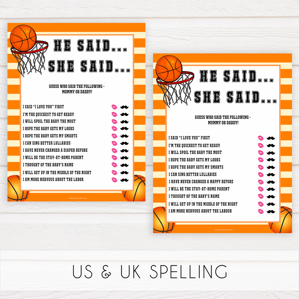 graphic relating to Uk Basketball Schedule -16 Printable called He Explained She Stated - Basketball Famous people Youngster Shower Video games