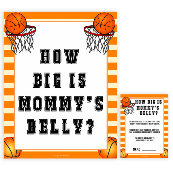 Basketball baby shower games, how big is mommys belly baby game, printable baby games, basket baby games, baby shower games, basketball baby shower idea, fun baby games, popular baby games
