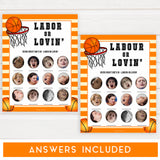 Basketball baby shower games, labor or lovin, labour or lovin baby game, printable baby games, basket baby games, baby shower games, basketball baby shower idea, fun baby games, popular baby games