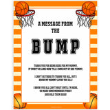 Basketball baby shower games, message from bump baby game, printable baby games, basket baby games, baby shower games, basketball baby shower idea, fun baby games, popular baby games
