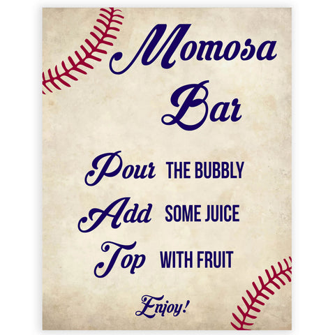 momosa baby sign, momosa baby table sign, Baseball baby signs, baseball baby decor, printable baby shower decor, fun baby decor, baby food signs, printable baby shower ideas