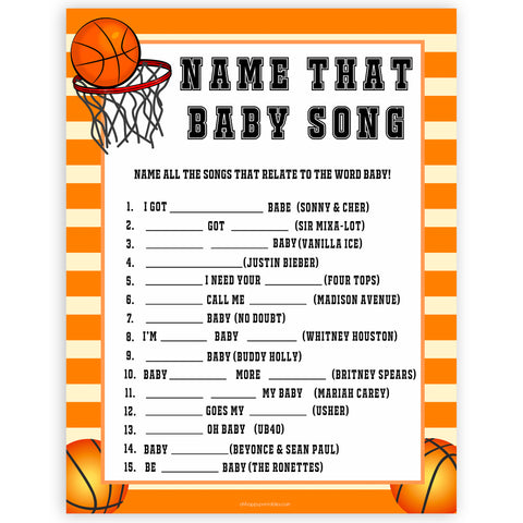 Basketball baby shower games, name that baby song baby game, printable baby games, basket baby games, baby shower games, basketball baby shower idea, fun baby games, popular baby games