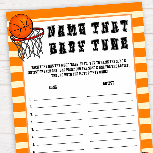 Basketball baby shower games, name that baby tune baby game, printable baby games, basket baby games, baby shower games, basketball baby shower idea, fun baby games, popular baby games