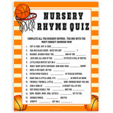 Basketball baby shower games, nursery rhyme quiz baby game, printable baby games, basket baby games, baby shower games, basketball baby shower idea, fun baby games, popular baby games