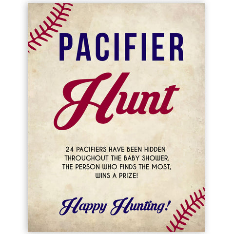 pacifier hunt baby game, Baseball baby shower games, printable baby shower games, fun baby shower games, top baby shower ideas, little slugger baby games
