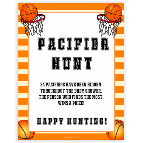 Basketball baby shower games, pacifier hunt baby game, printable baby games, basket baby games, baby shower games, basketball baby shower idea, fun baby games, popular baby games