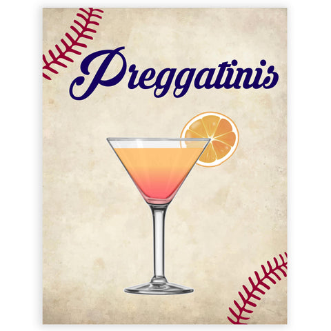 Preggatinis baby sign, Baseball baby signs, baseball baby decor, printable baby shower decor, fun baby decor, baby food signs, printable baby shower ideas