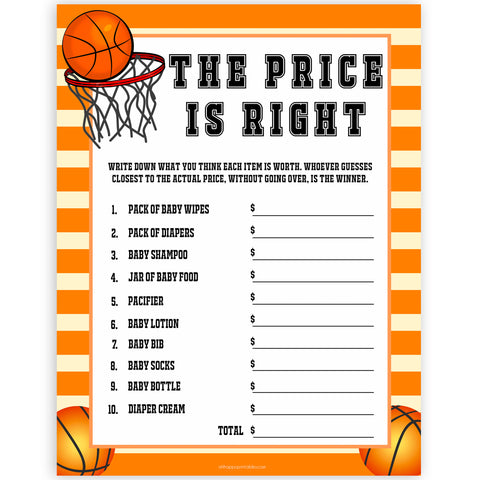 Basketball baby shower games, the price is right baby game, printable baby games, basket baby games, baby shower games, basketball baby shower idea, fun baby games, popular baby games