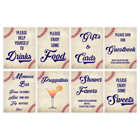 8 baby shower signs, 8 baby shower table signs, Baseball baby signs, baseball baby decor, printable baby shower decor, fun baby decor, baby food signs, printable baby shower ideas