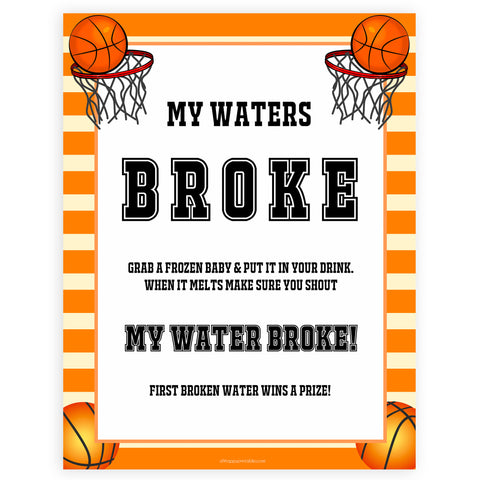 Basketball baby shower games, my waters broke baby game, printable baby games, basket baby games, baby shower games, basketball baby shower idea, fun baby games, popular baby games
