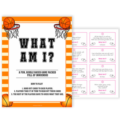 Basketball baby shower games, what am I baby game, printable baby games, basket baby games, baby shower games, basketball baby shower idea, fun baby games, popular baby games