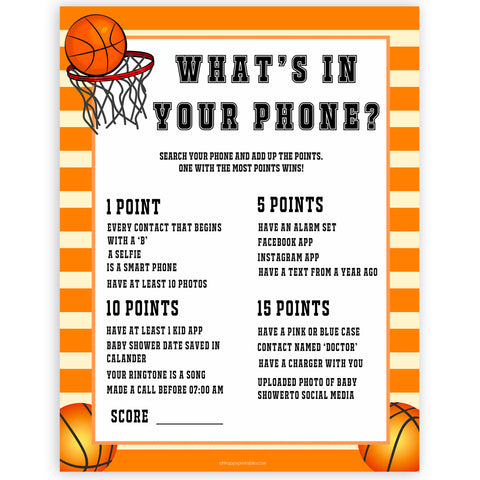 Basketball baby shower games, whats in your phone baby game, printable baby games, basket baby games, baby shower games, basketball baby shower idea, fun baby games, popular baby games