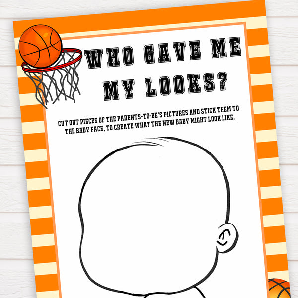 Basketball baby shower games, who gave me my looks baby game, printable baby games, basket baby games, baby shower games, basketball baby shower idea, fun baby games, popular baby games