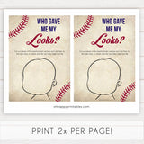 baseball theme baby shower games, who gave me my looks, what will baby look like, printable baby shower games, fun baby shower games, popular baby shower games