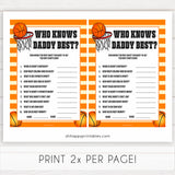 Basketball baby shower games, who knows daddy best baby game, printable baby games, basket baby games, baby shower games, basketball baby shower idea, fun baby games, popular baby games