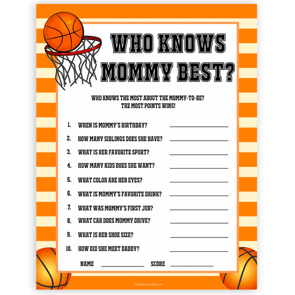 Basketball baby shower games, who knows mummy best, who knows mommy best baby game, printable baby games, basket baby games, baby shower games, basketball baby shower idea, fun baby games, popular baby games