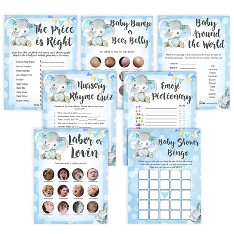 Blue elephant baby games, 7 baby shower games pack, elephant baby games, printable baby games, top baby games, best baby shower games, baby shower ideas, fun baby games, elephant baby shower