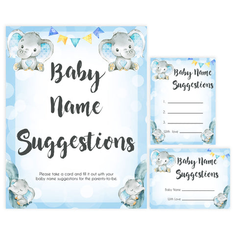Blue elephant baby games, baby name suggestions, elephant baby games, printable baby games, top baby games, best baby shower games, baby shower ideas, fun baby games, elephant baby shower