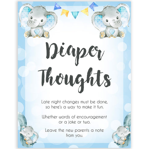Blue elephant baby games, diaper thoughts, elephant baby games, printable baby games, top baby games, best baby shower games, baby shower ideas, fun baby games, elephant baby shower