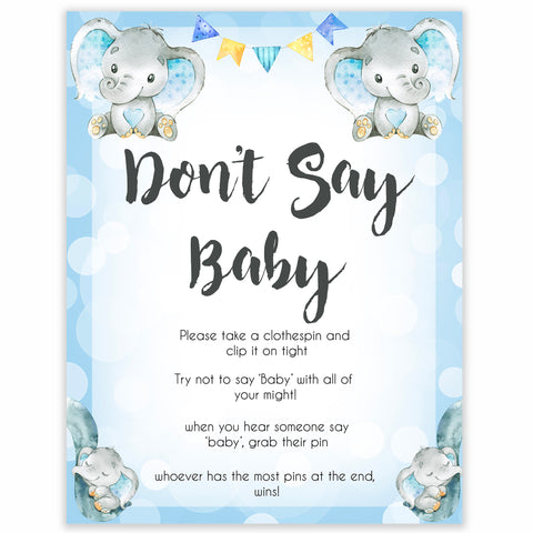 Blue elephant baby games, dont say baby, elephant baby games, printable baby games, top baby games, best baby shower games, baby shower ideas, fun baby games, elephant baby shower