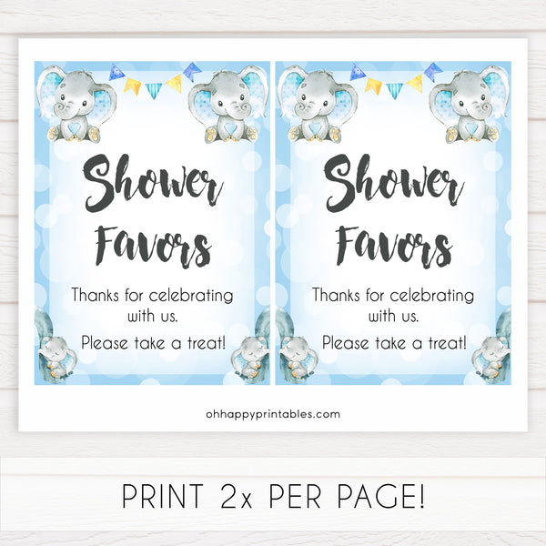 shower favors baby table signs, favors baby signs, Blue elephant baby decor, printable baby table signs, printable baby decor, blue table signs, fun baby signs, fun baby table signs