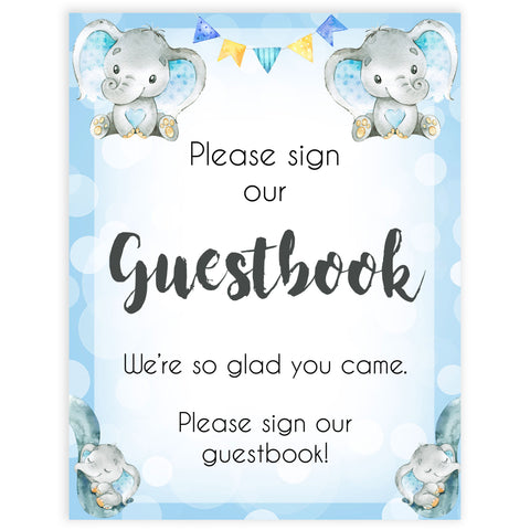 guestbook baby table sign, guestbook baby signs, Blue elephant baby decor, printable baby table signs, printable baby decor, blue table signs, fun baby signs, fun baby table signs