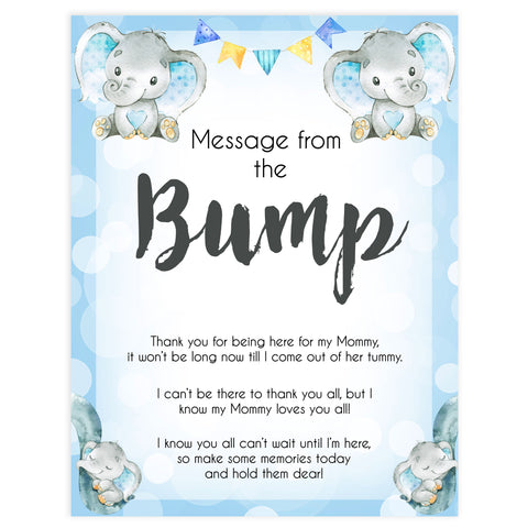 Blue elephant baby games, message from the bump, elephant baby games, printable baby games, top baby games, best baby shower games, baby shower ideas, fun baby games, elephant baby shower