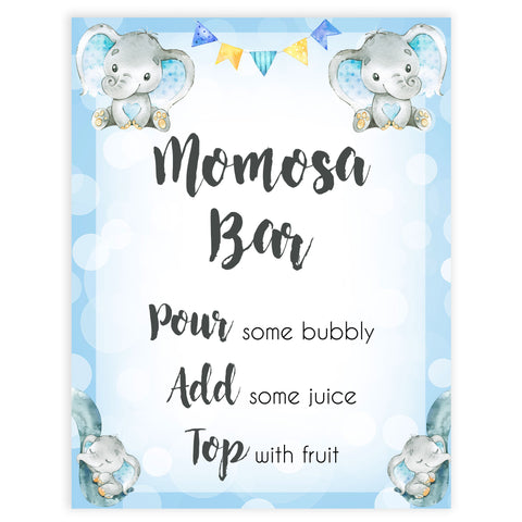 momosa baby table sign, momosa baby sign, Blue elephant baby decor, printable baby table signs, printable baby decor, blue table signs, fun baby signs, fun baby table signs