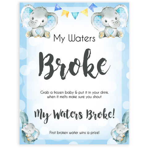Blue elephant baby games, my waters broke, elephant baby games, printable baby games, top baby games, best baby shower games, baby shower ideas, fun baby games, elephant baby shower