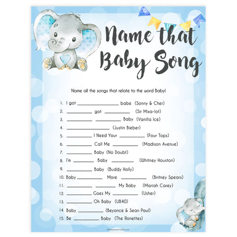 Blue elephant baby games, name that baby song, elephant baby games, printable baby games, top baby games, best baby shower games, baby shower ideas, fun baby games, elephant baby shower