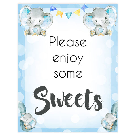 sweet baby table signs, Blue elephant baby decor, printable baby table signs, printable baby decor, blue table signs, fun baby signs, fun baby table signs