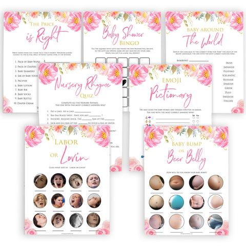 Pink blush floral baby shower games, 7 baby shower games, baby games bundle, printable baby games, baby shower games, blush baby shower, floral baby games, girl baby shower ideas, pink baby shower ideas, floral baby games, popular baby games, fun baby games