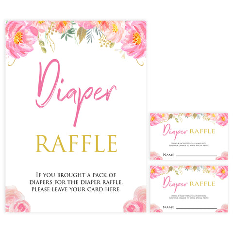 diaper raffle game, baby diaper raffle, Printable baby shower games, blush floral fun baby games, baby shower games, fun baby shower ideas, top baby shower ideas, blush baby shower, blue baby shower ideas
