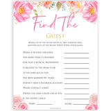 Pink blush floral baby shower find the guest, printable baby games, baby shower games, blush baby shower, floral baby games, girl baby shower ideas, pink baby shower ideas, floral baby games, popular baby games, fun baby games