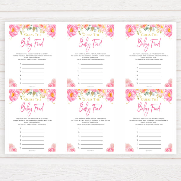 Pink blush floral baby shower guess the baby food, printable baby games, baby shower games, blush baby shower, floral baby games, girl baby shower ideas, pink baby shower ideas, floral baby games, popular baby games, fun baby games