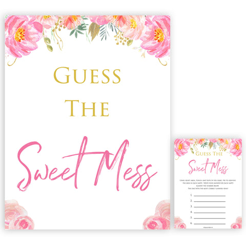 Pink blush floral baby shower guess the sweet mess printable baby games, baby shower games, blush baby shower, floral baby games, girl baby shower ideas, pink baby shower ideas, floral baby games, popular baby games, fun baby games