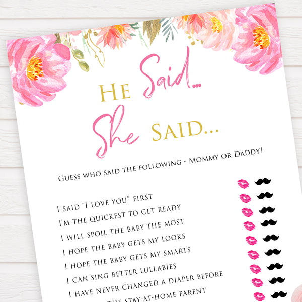 Pink blush floral baby shower he said she said, printable baby games, baby shower games, blush baby shower, floral baby games, girl baby shower ideas, pink baby shower ideas, floral baby games, popular baby games, fun baby games