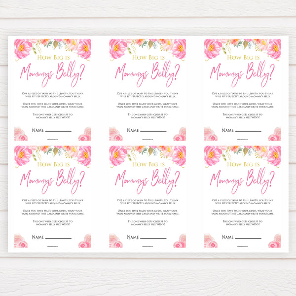 Pink blush floral baby shower how big is mommys belly game, printable baby games, baby shower games, blush baby shower, floral baby games, girl baby shower ideas, pink baby shower ideas, floral baby games, popular baby games, fun baby games
