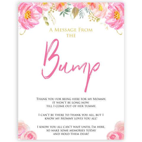 Pink blush floral baby shower message from bump, printable baby games, baby shower games, blush baby shower, floral baby games, girl baby shower ideas, pink baby shower ideas, floral baby games, popular baby games, fun baby games