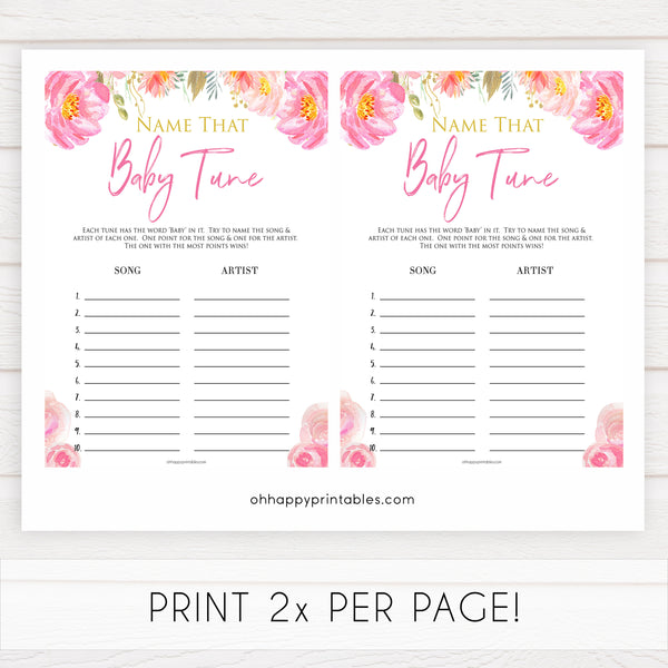Pink blush floral baby shower name that baby tune game, printable baby games, baby shower games, blush baby shower, floral baby games, girl baby shower ideas, pink baby shower ideas, floral baby games, popular baby games, fun baby games