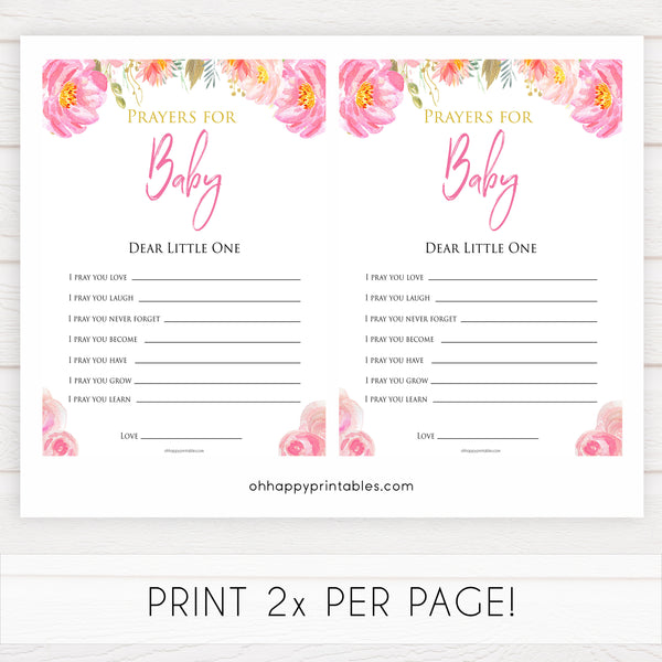 Pink blush floral baby shower prayers for the baby game, printable baby games, baby shower games, blush baby shower, floral baby games, girl baby shower ideas, pink baby shower ideas, floral baby games, popular baby games, fun baby games