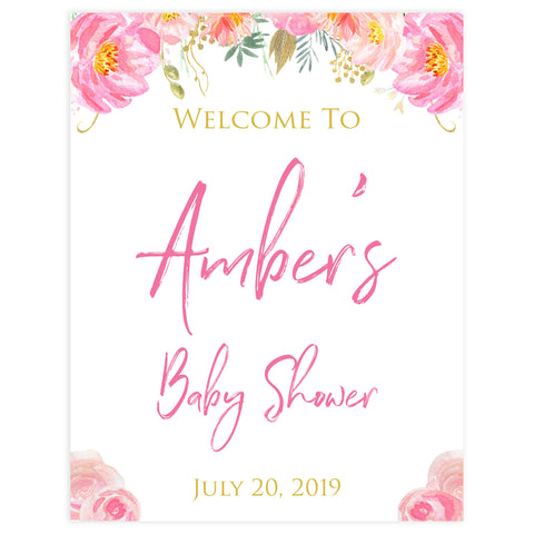 baby welcome signs, printable baby welcome signs, blush floral baby shower, bush baby shower decor, baby welcome signs